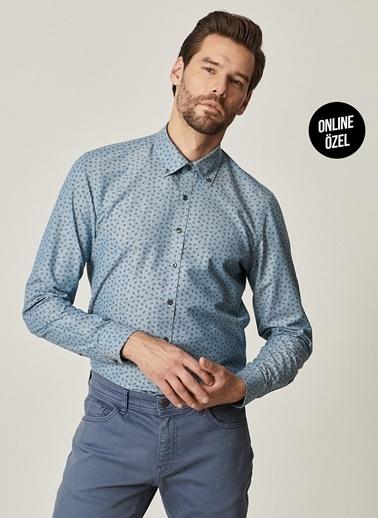 AC&Co / Altınyıldız Classics Tailored Slim Fit Düğmeli Yaka Baskılı Gömlek 4A2021100074 Petrol